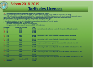 tarifs demande de licences
