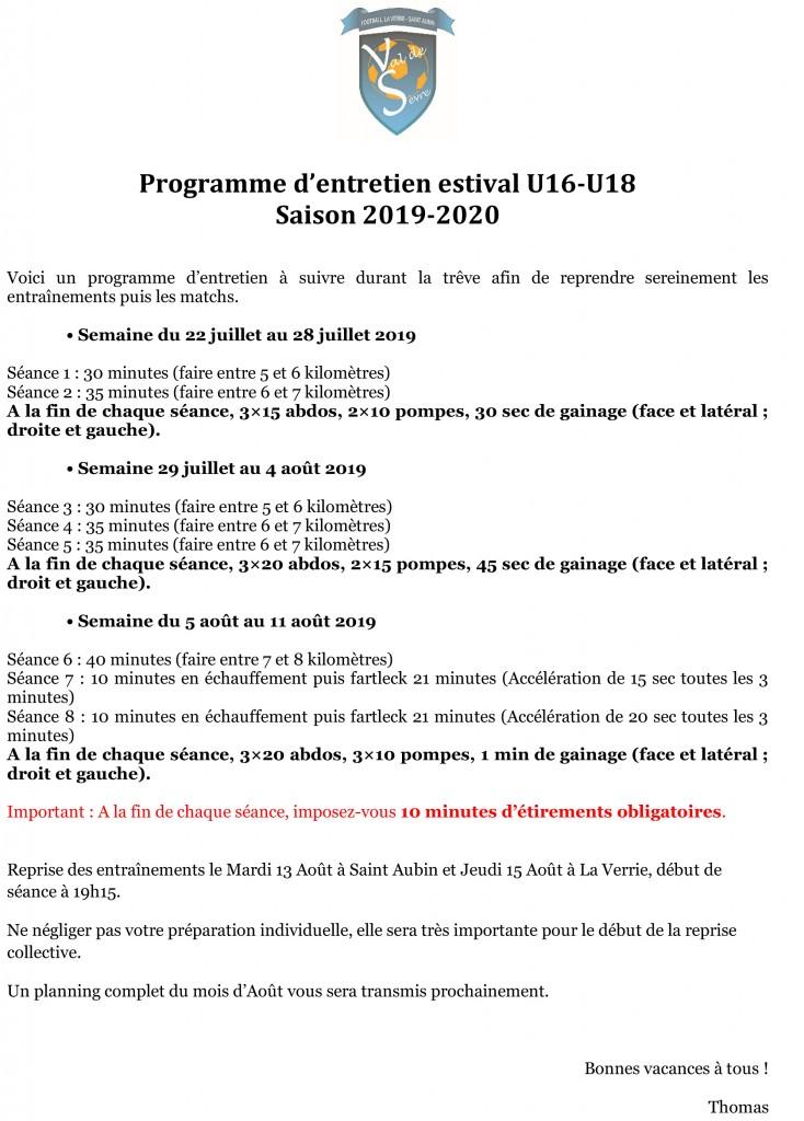 Programme d'entretien estival U16-U18