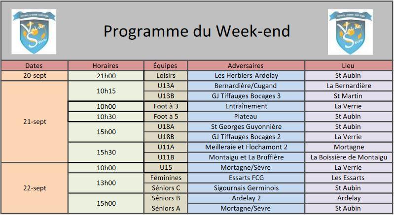 Programme Week-end 2109