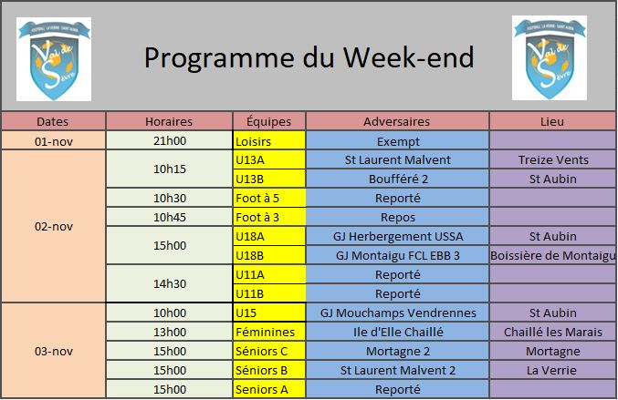 Programme Week-end 09-11