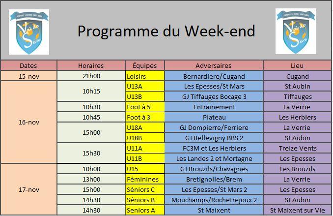 Programme Week-end 16-11