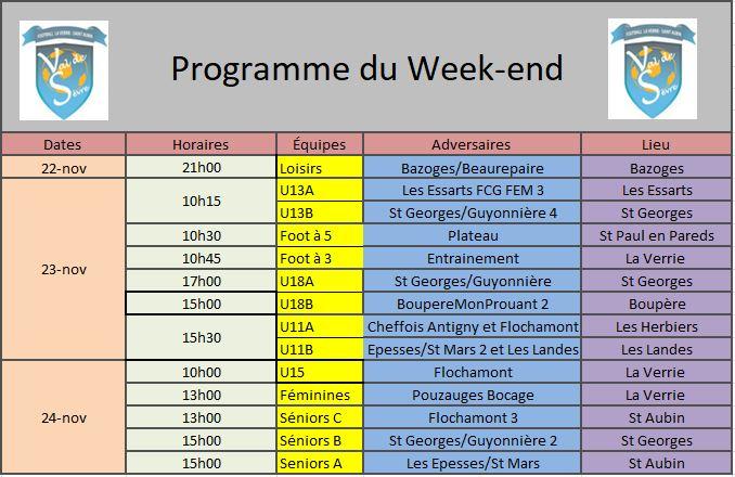 Programme Week-end 23-11