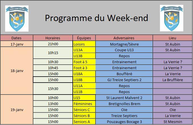 Programme Week-end 18-01