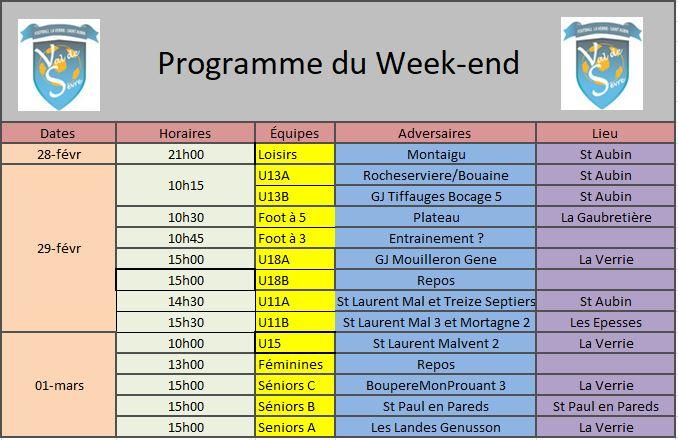 Programme Week-end 0103