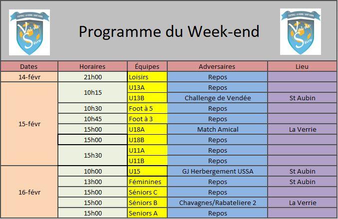 Programme Week-end 1502